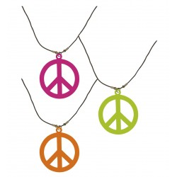 Collier fluo Hippie peace...