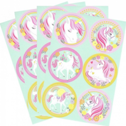 24 stickers licorne