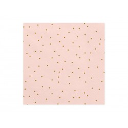 20 Serviettes rose gold à pois