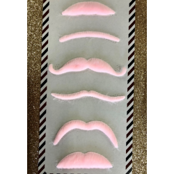 Lot de 6 moustaches roses